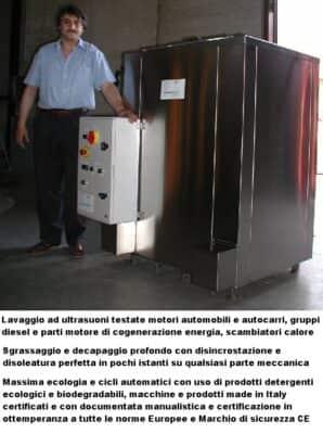 Lavaggio ultrasuoni scambiatori motori diesel cogeneratori energia